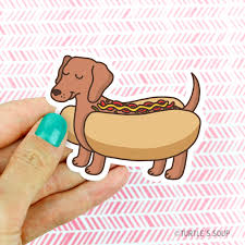 cute dachshund dog vinyl sticker doxie gift dog lover