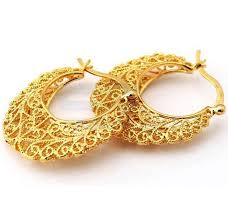 real gold earrings buy 18k real gold plated excellent craft hollow flowers hoop
