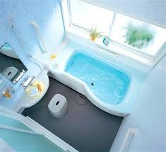 interior creative light blue theme small bathroom with