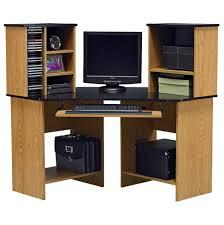 rustic black wooden corner computer desk with hutch and f swivel