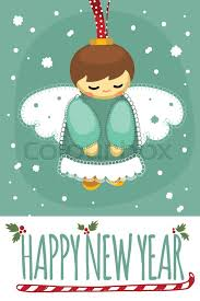 happy new year post card merry christmas and happy new year post card with designed text