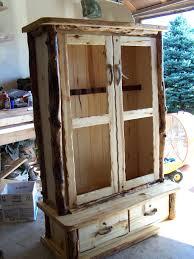 Glass Gun Cabinet Rustic Aspen Gun Cabinet With Glass Doors Display Wood Cabinets