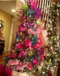 bright blue decorations pink tree with