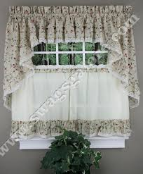 Country Ruffled Valances Cherries Curtains Tiers Swags U0026 Valance Natural Ellis