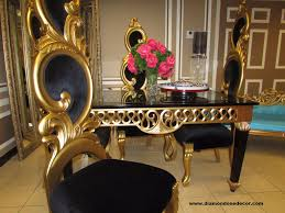 Gold Dining Room by Black And Gold Baroque French Reproduction Decorator Dining Table