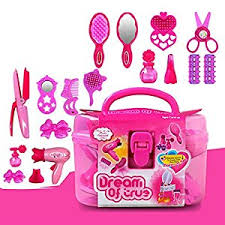 Vanity Case Beauty Studio Deardeer Kids Pretend Play Beauty Salon Fashion Play Set With Hair