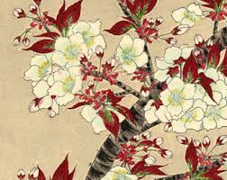 Japanese Flowers Pictures - japanese art flowers floral botanical art prints white