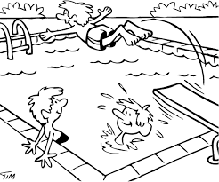 drawing people in swimming pool sketch coloring page