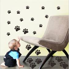 popular printed wall tiles buy cheap printed wall tiles lots from funny dog cat paw print poster for kids room home decal wall stickers diy animal footprint