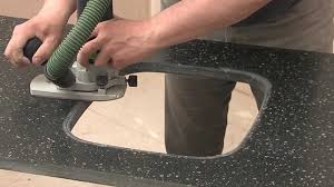 cutting countertop for sink mistral solid surface 09 undermount sink cut out youtube