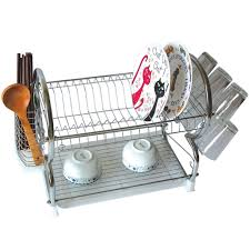 Dishes Rack Drainer Chrome Dish Drainer Rack Drip Dry Washing Up Plate Drying Tidy