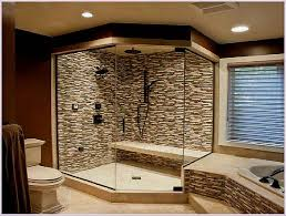 bathroom shower ideas for small bathrooms glass panel and brown