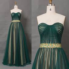 dark green two tone long prom dresses with crystal beadings