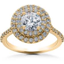 lab created engagement ring 1 ct halo lab created engagement ring 14k yellow gold