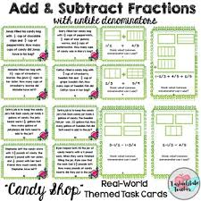 subtract fractions with unlike denominators task cards 5nfa1 5nfa2