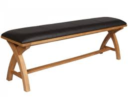 country oak cross leg leather indoor wooden dining bench 1 6m long