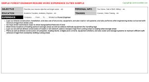 Manufacturing Supervisor Resume Forest Engineer Resume Sample