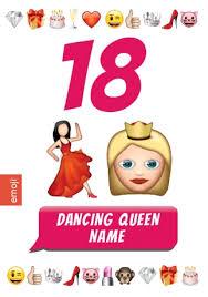 emoji birthday card 18th birthday dancing queen funky pigeon