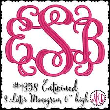 letter monogram 1358 entwined or vine 3 letter monogram machine embroidery designs
