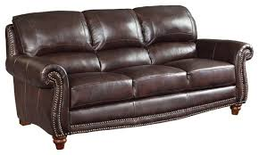 leather sofa with nailheads brown leather sofa with nailheads traditional sofas by