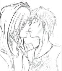 drawn kissing emo pencil and in color drawn kissing emo