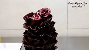 how to make modeling chocolate recipe chocolate ruffle cake youtube