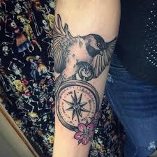 Flower And Bird Tattoo - 22 compass tattoo designs ideas design trends premium psd