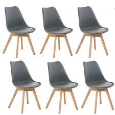 lot de 6 chaises salle à manger lot de 6 chaises de salle à manger scandinave simili cuir gris pieds