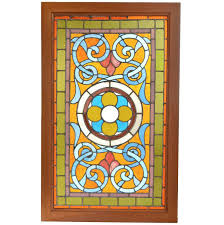 stained glass door patterns victorian teal and amber stained glass window with rondelles for