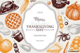 thanksgiving day menu design vector frame with