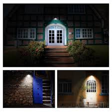 2x solar powered bright led wireless pir motion sensor security