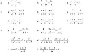 solving fractional equations worksheet one step equation