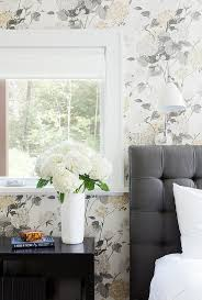 Fornasetti Curtains Gray Bedroom With Fornasetti Nuvole Wallpaper Contemporary Bedroom