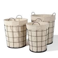 joveco multi purpose tall circular baskets with polka dot lining