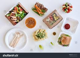 different options variety assortment takeout food stock photo