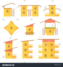 houses with stairs variety colorful homes birds large small stock vector 590084258