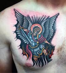 tattoos of micheal for on chest tatoo st