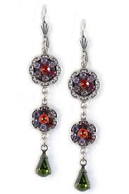 purple drop earrings delicate purple multi tier mosaic swarovski drop earrings