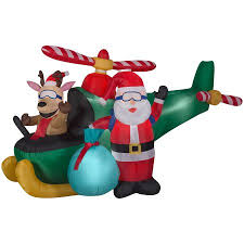 animated santa animated airblown santa and reindeer in helicopter by gemmy