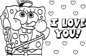 spongebob valentines day cards spongebob valentines day coloring pages designcorner
