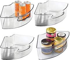 kitchen cabinet storage containers mdesign plastic kitchen cabinet lazy susan storage organizer bin with front handle small pie shaped 1 4 wedge 4 high container holds tea