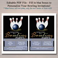 editable bowling party invitation birthday invitation