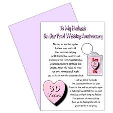 buy husband 30th wedding anniversary card with removable keyring