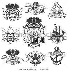 corsair logo set vintage style tattoos stock vector 334990007
