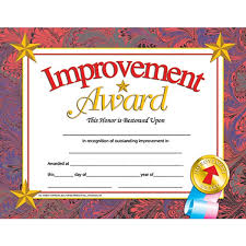 improvement award student certificate end of the year a