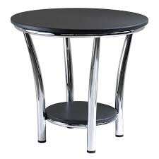 Outdoor Metal Side Table Amazon Com Winsome Wood Maya Round End Table Black Top Metal