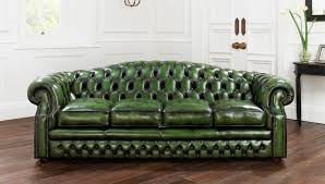 chesterfield sofa leather 3 seater green buckingham
