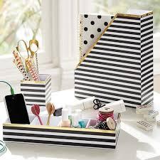 Black And White Desk Accessories Printed Desk Accessories Black White Stripe With Gold Trim