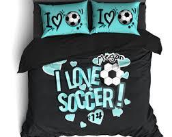 Custom Comforters And Bedspreads Soccer Comforter Etsy
