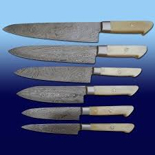 damascus kitchen knives for sale 6 pieces custom handmade damascus chef knife knives set with bone